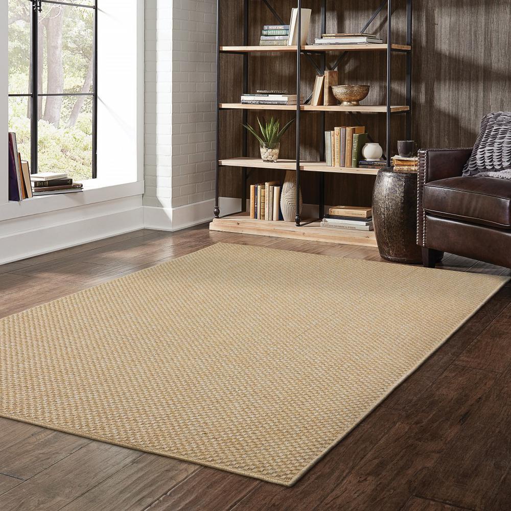 7'x10' Solid Sand Beige Indoor Outdoor Area Rug - 389477. Picture 3