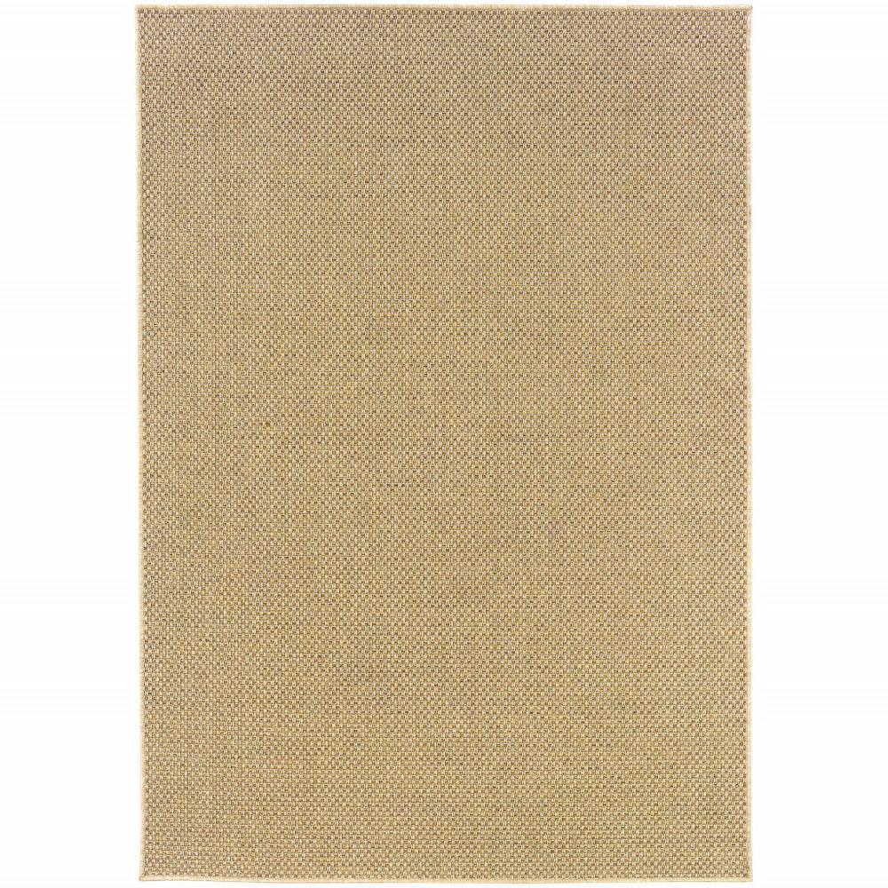 8'x11' Solid Sand Beige Indoor Outdoor Area Rug - 389478. Picture 1