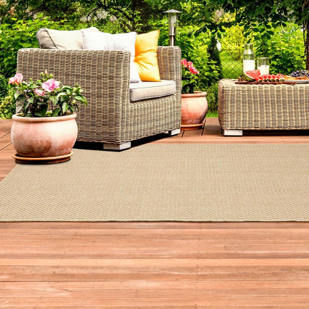 8'x11' Solid Sand Beige Indoor Outdoor Area Rug - 389478. Picture 2
