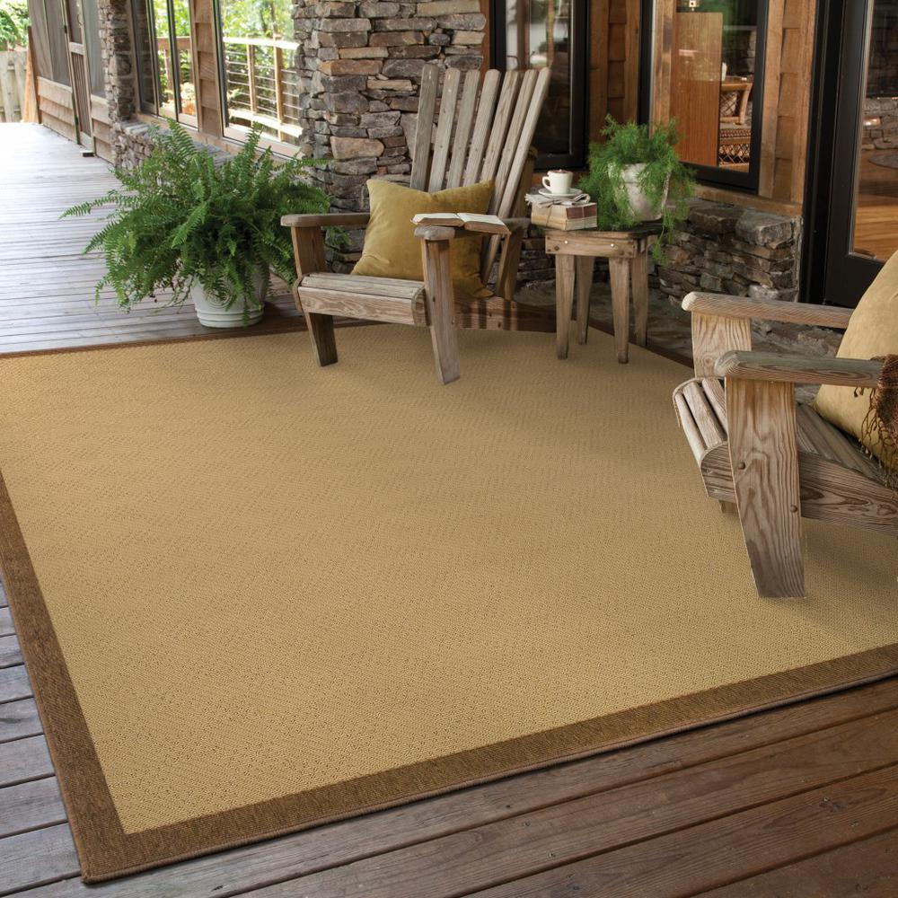 6'x9' Beige and Brown Plain Indoor Outdoor Area Rug - 389485. Picture 2