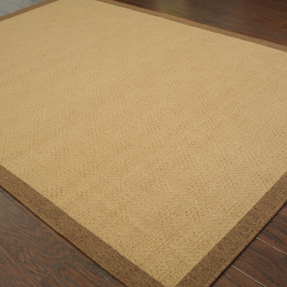 6'x9' Beige and Brown Plain Indoor Outdoor Area Rug - 389485. Picture 3