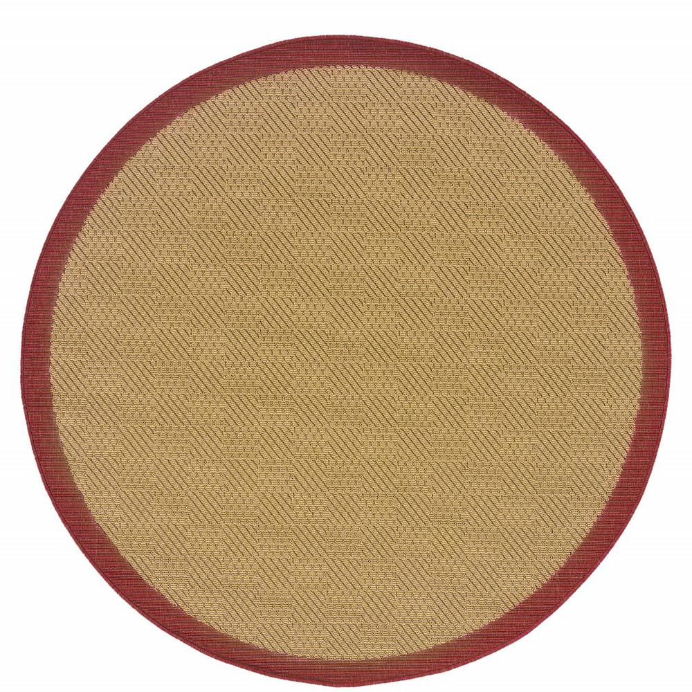 8' Round Beige and Red Plain Indoor Outdoor Area Rug - 389495. Picture 1