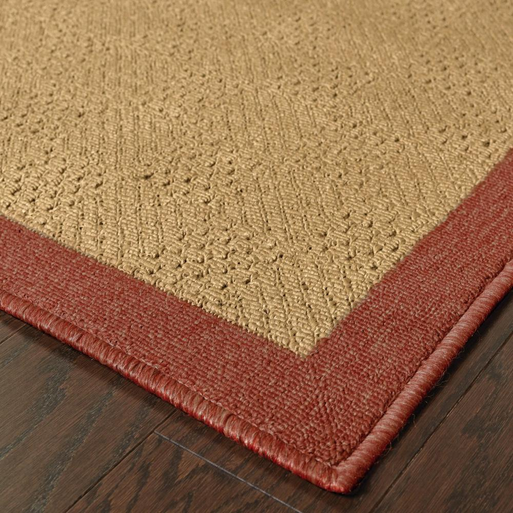 8' Round Beige and Red Plain Indoor Outdoor Area Rug - 389495. Picture 2
