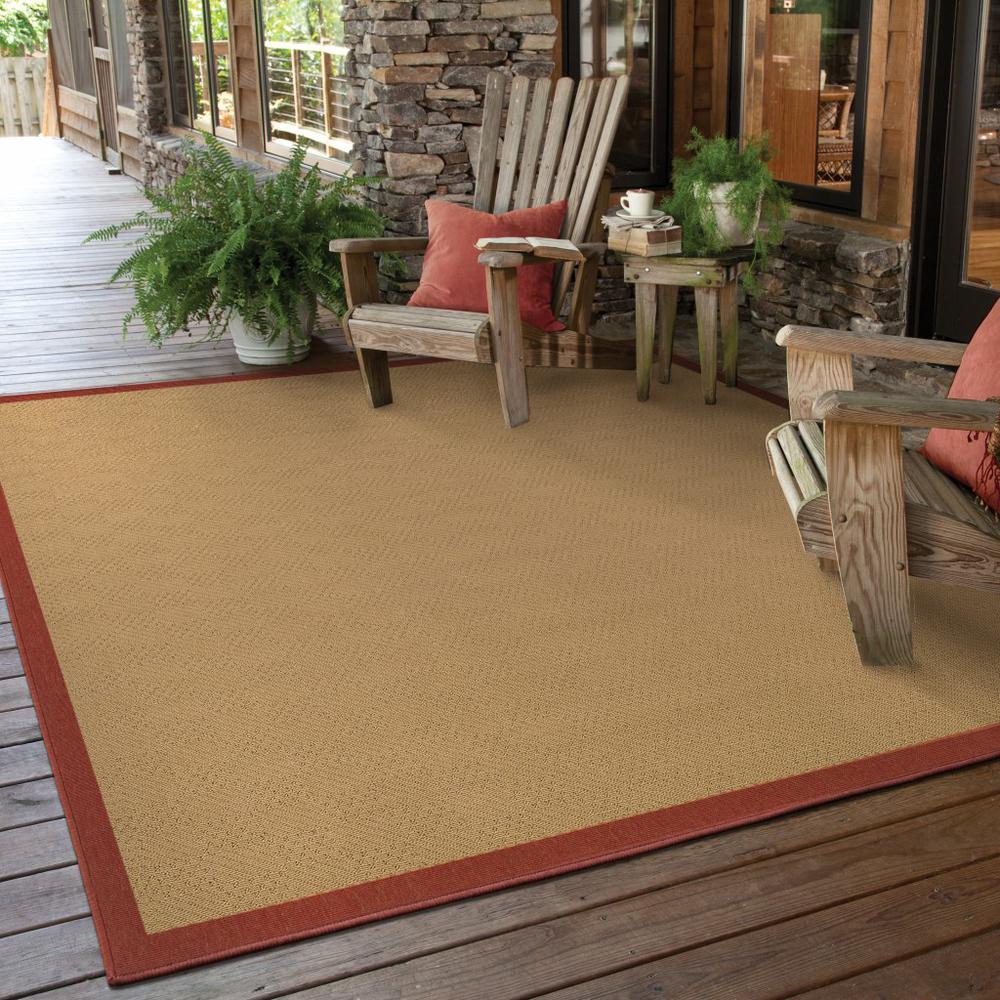 9'x13' Beige and Red Plain Indoor Outdoor Area Rug - 389496. Picture 2