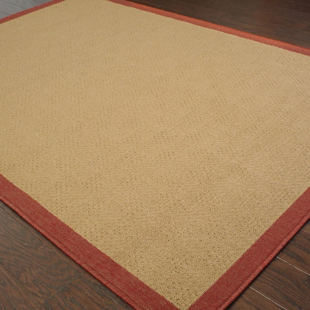 9'x13' Beige and Red Plain Indoor Outdoor Area Rug - 389496. Picture 3