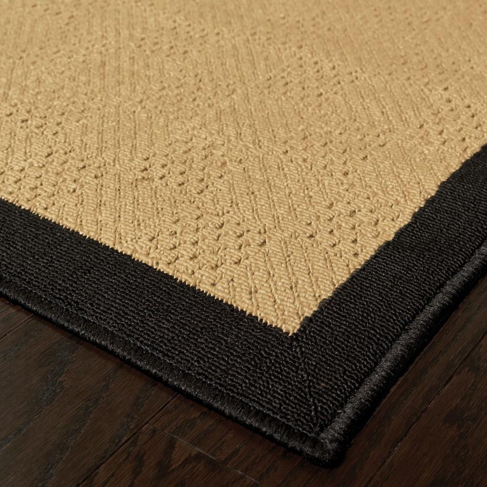6'x9' Beige and Black Plain Indoor Outdoor Area Rug - 389501. Picture 6