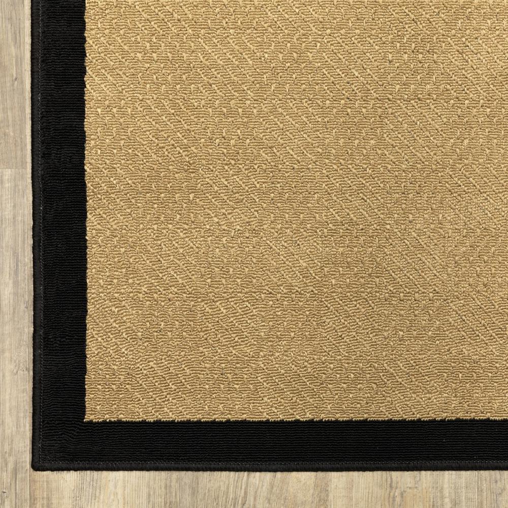 6'x9' Beige and Black Plain Indoor Outdoor Area Rug - 389501. Picture 7