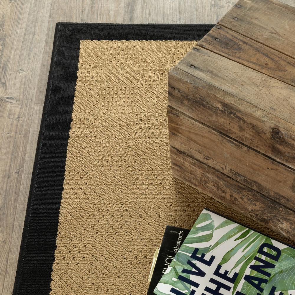 7'x11' Beige and Black Plain Indoor Outdoor Area Rug - 389502. Picture 9