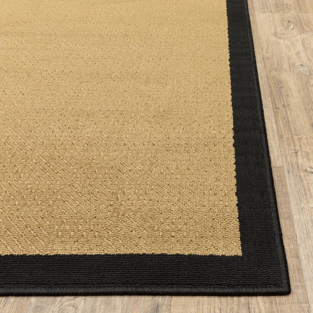 9'x13' Beige and Black Plain Indoor Outdoor Area Rug - 389504. Picture 8