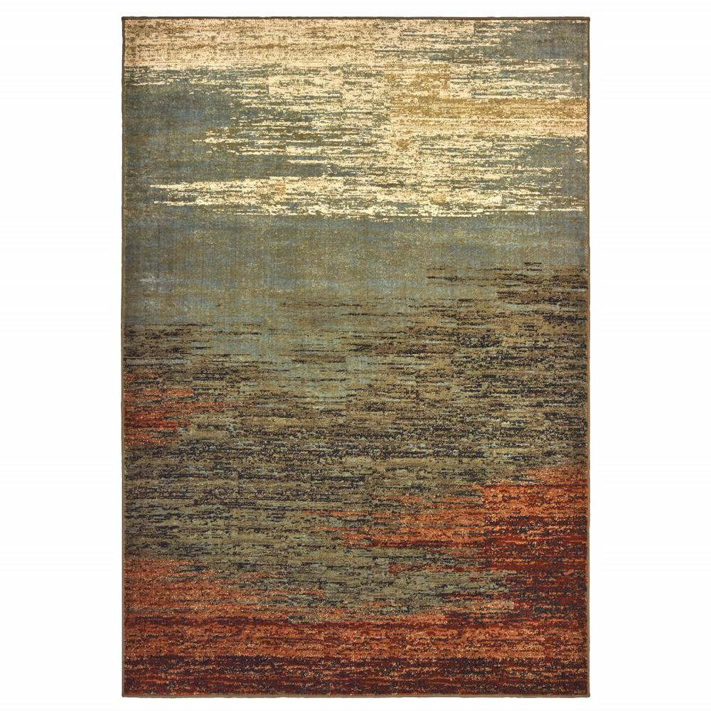 8'x10' Blue and Brown Distressed Area Rug - 389512. Picture 1