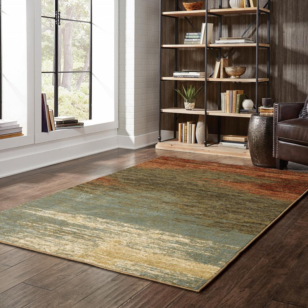 8'x10' Blue and Brown Distressed Area Rug - 389512. Picture 2