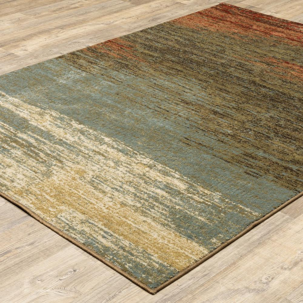 8'x10' Blue and Brown Distressed Area Rug - 389512. Picture 3