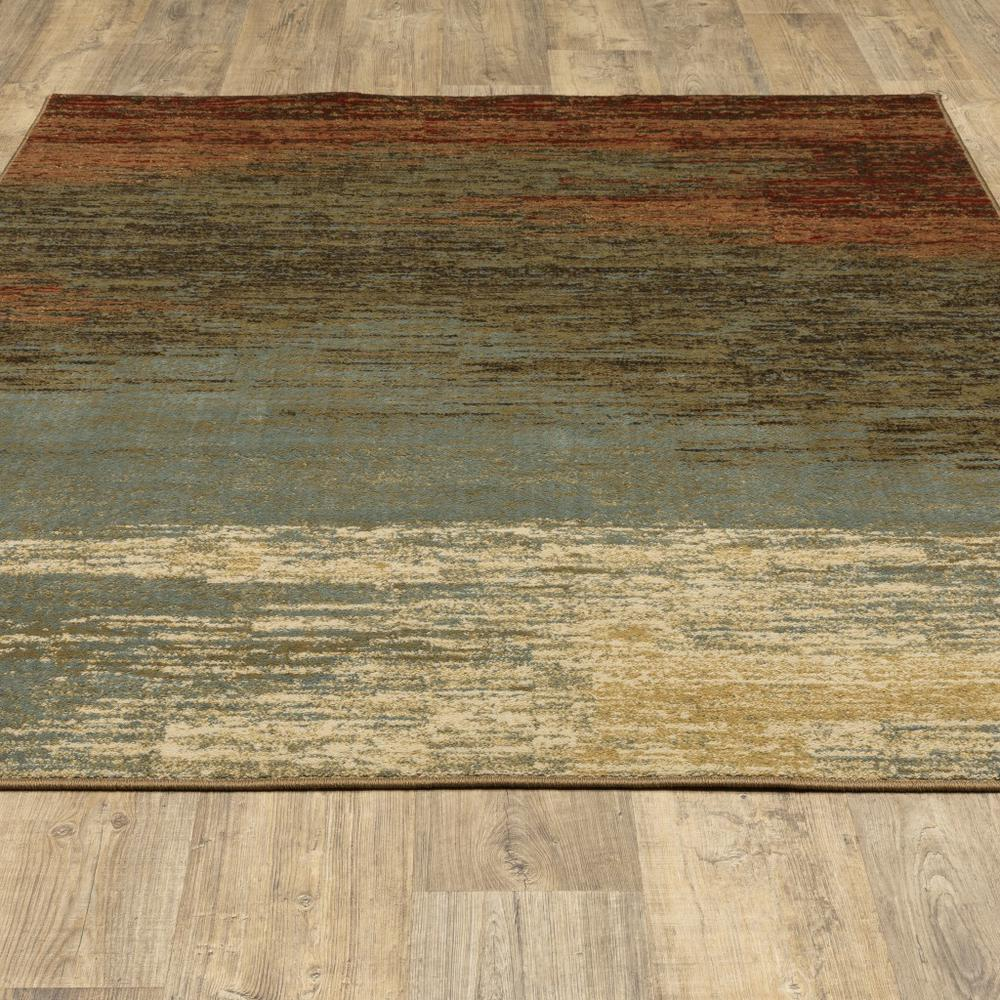 8'x10' Blue and Brown Distressed Area Rug - 389512. Picture 4