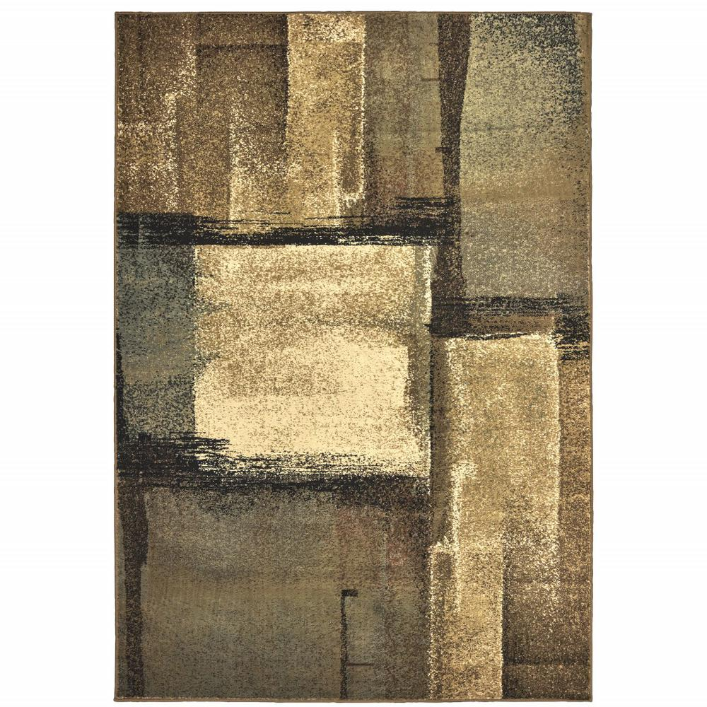 3'x5' Brown and Beige Distressed Blocks Area Rug - 389513. Picture 1