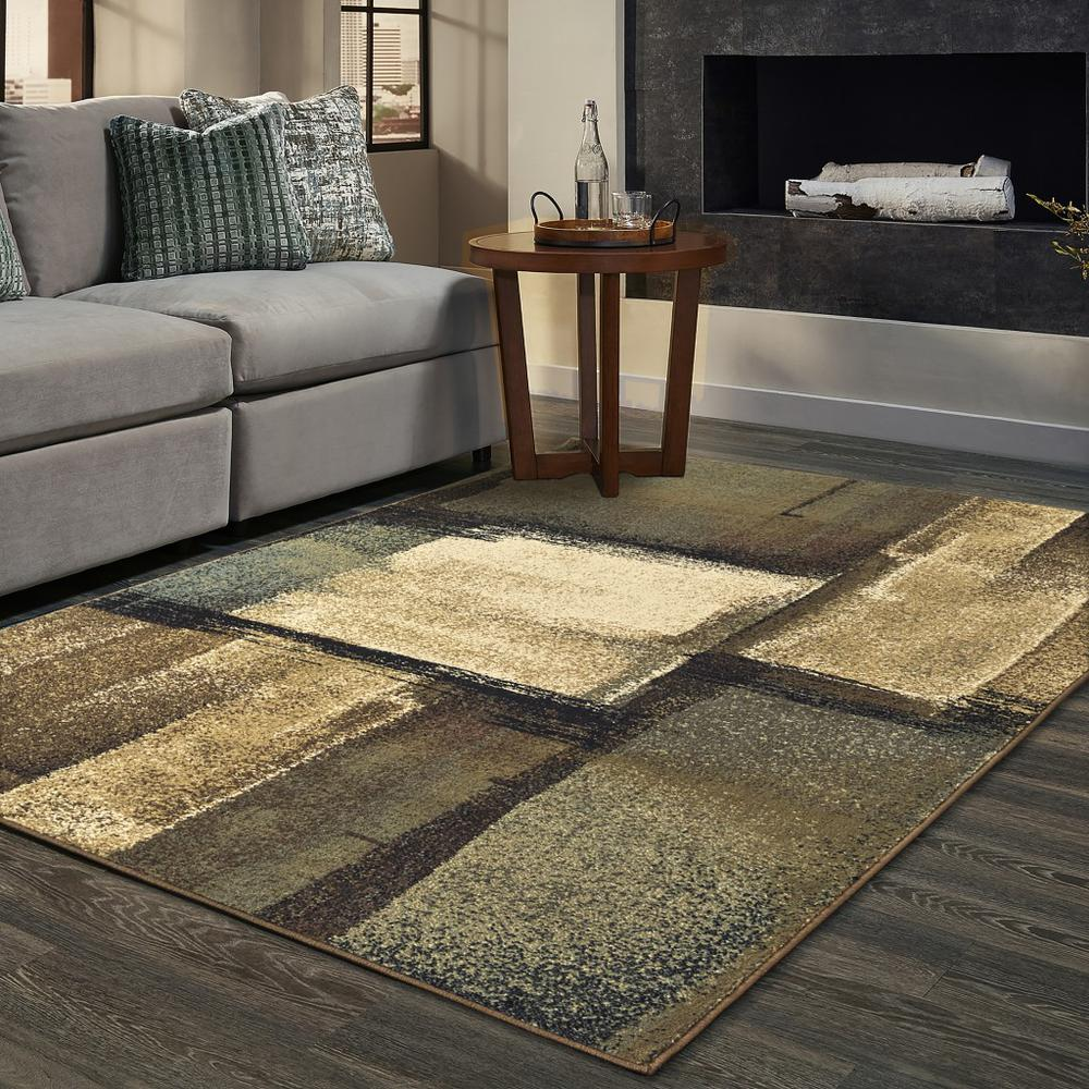 3'x5' Brown and Beige Distressed Blocks Area Rug - 389513. Picture 2