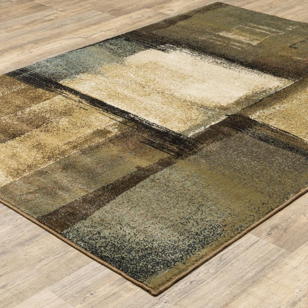 3'x5' Brown and Beige Distressed Blocks Area Rug - 389513. Picture 3