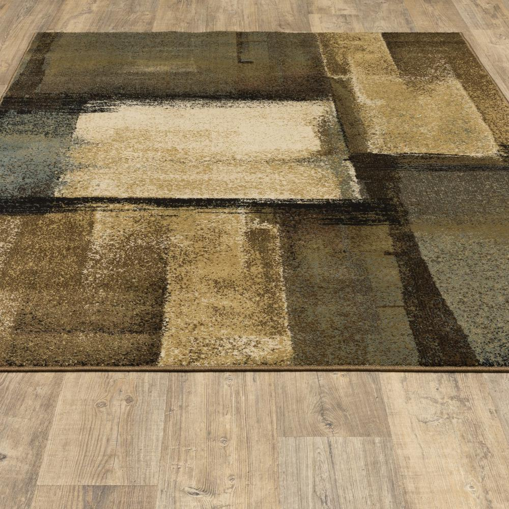 3'x5' Brown and Beige Distressed Blocks Area Rug - 389513. Picture 4