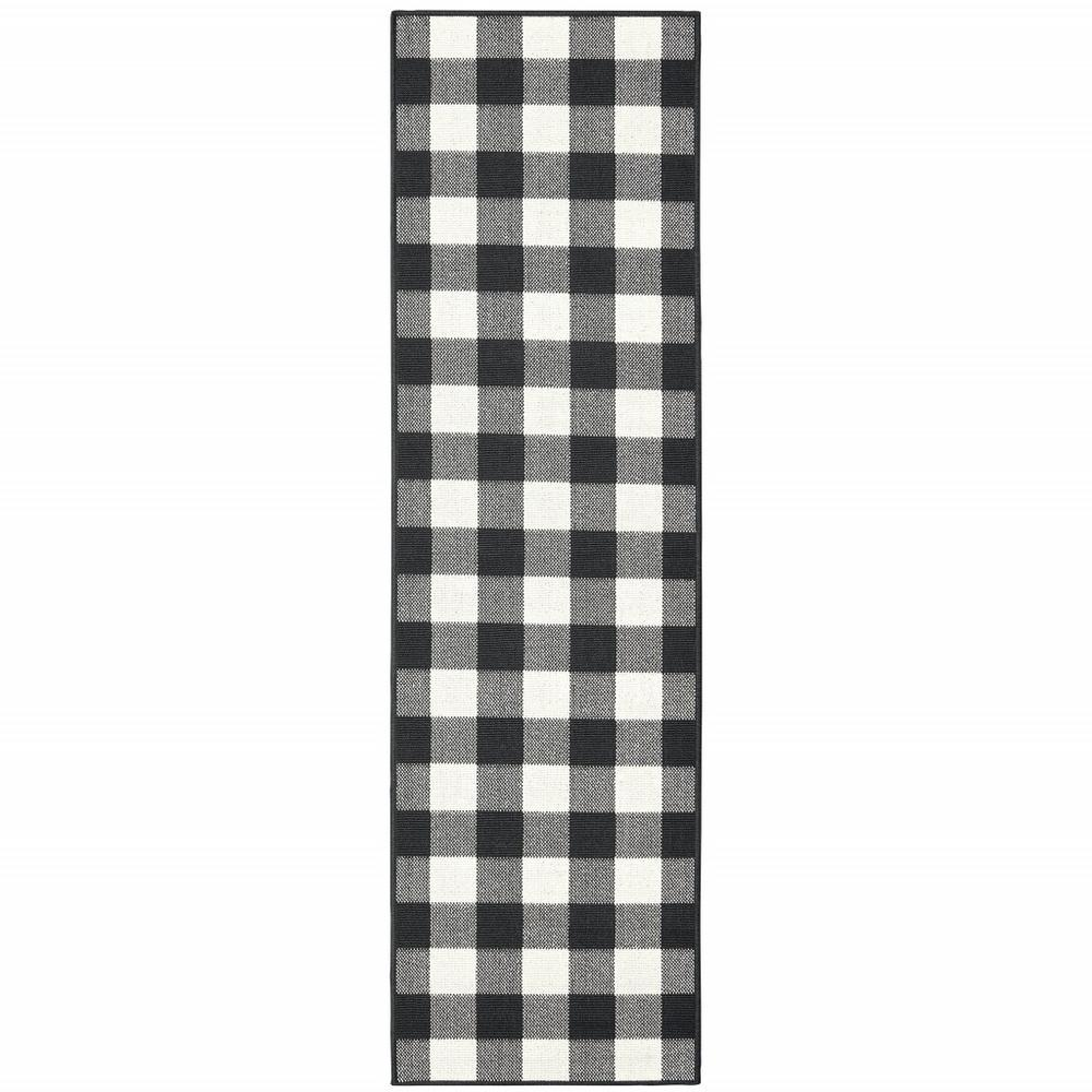 2'x8' Black and Ivory Gingham Indoor Outdoor Runner Rug - 389517. Picture 1