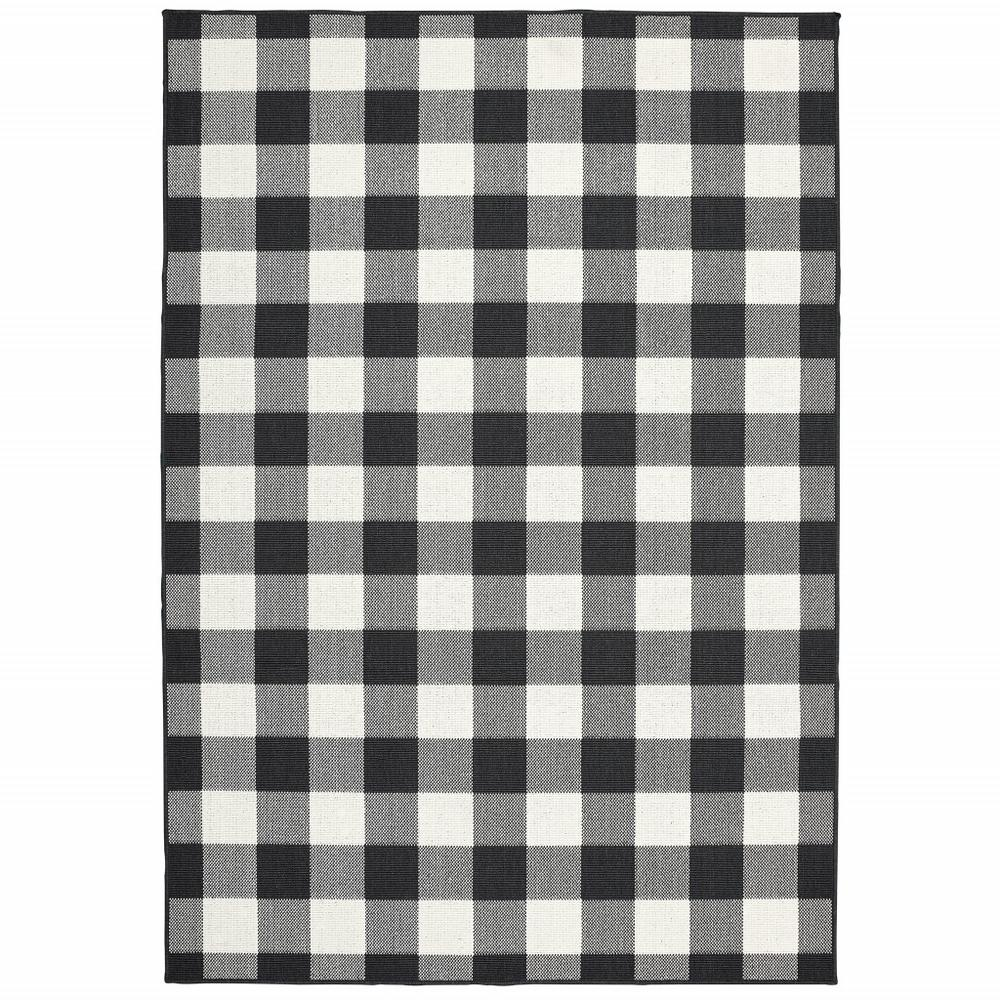 9'x13' Black and Ivory Gingham Indoor Outdoor Area Rug - 389523. Picture 1