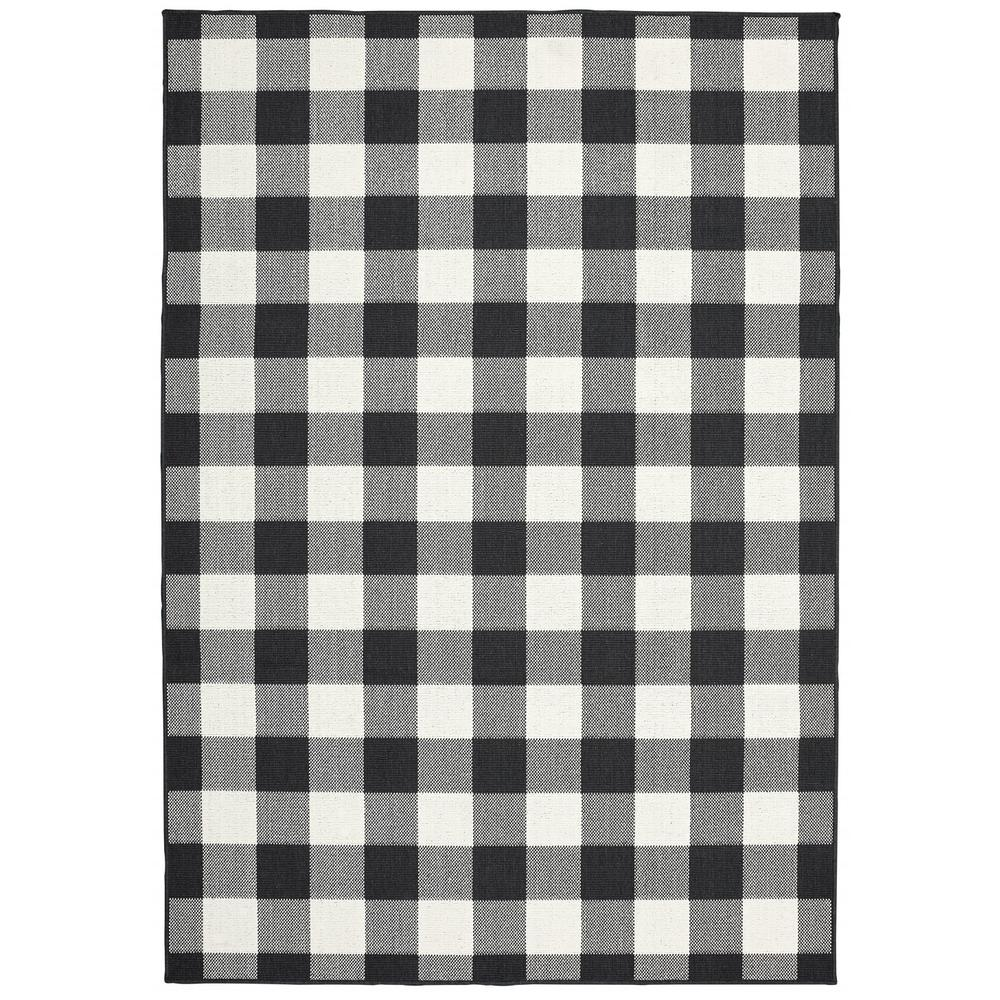 9'x13' Black and Ivory Gingham Indoor Outdoor Area Rug - 389523. Picture 2