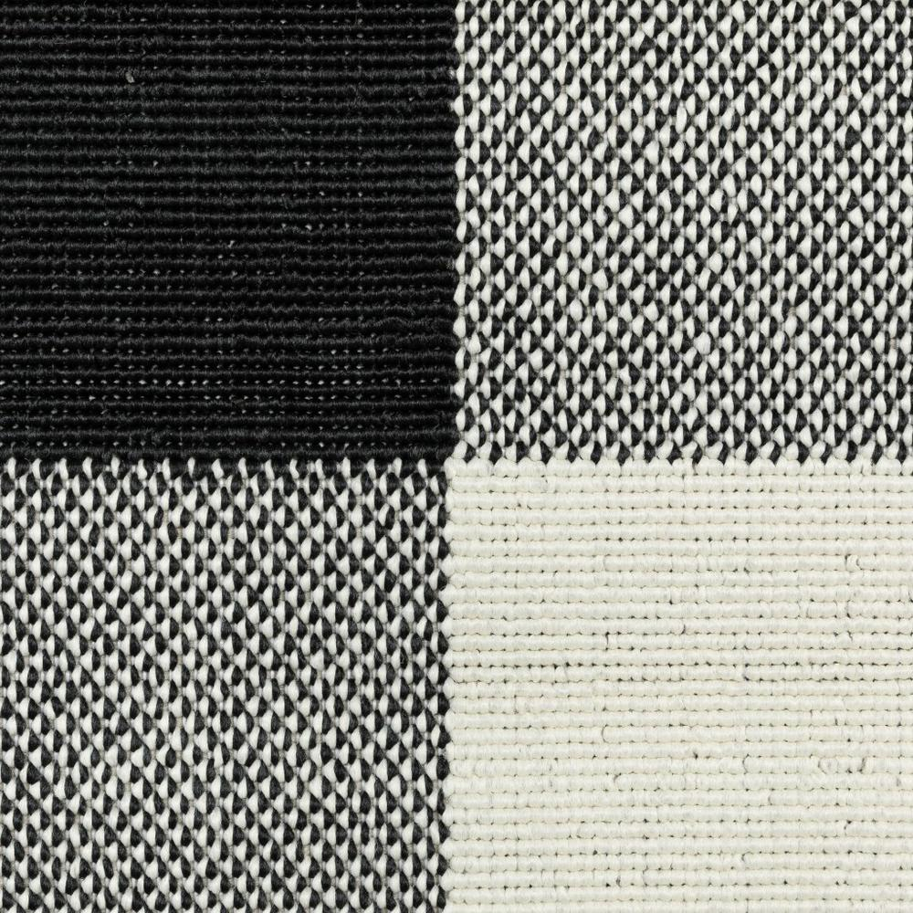 9'x13' Black and Ivory Gingham Indoor Outdoor Area Rug - 389523. Picture 6