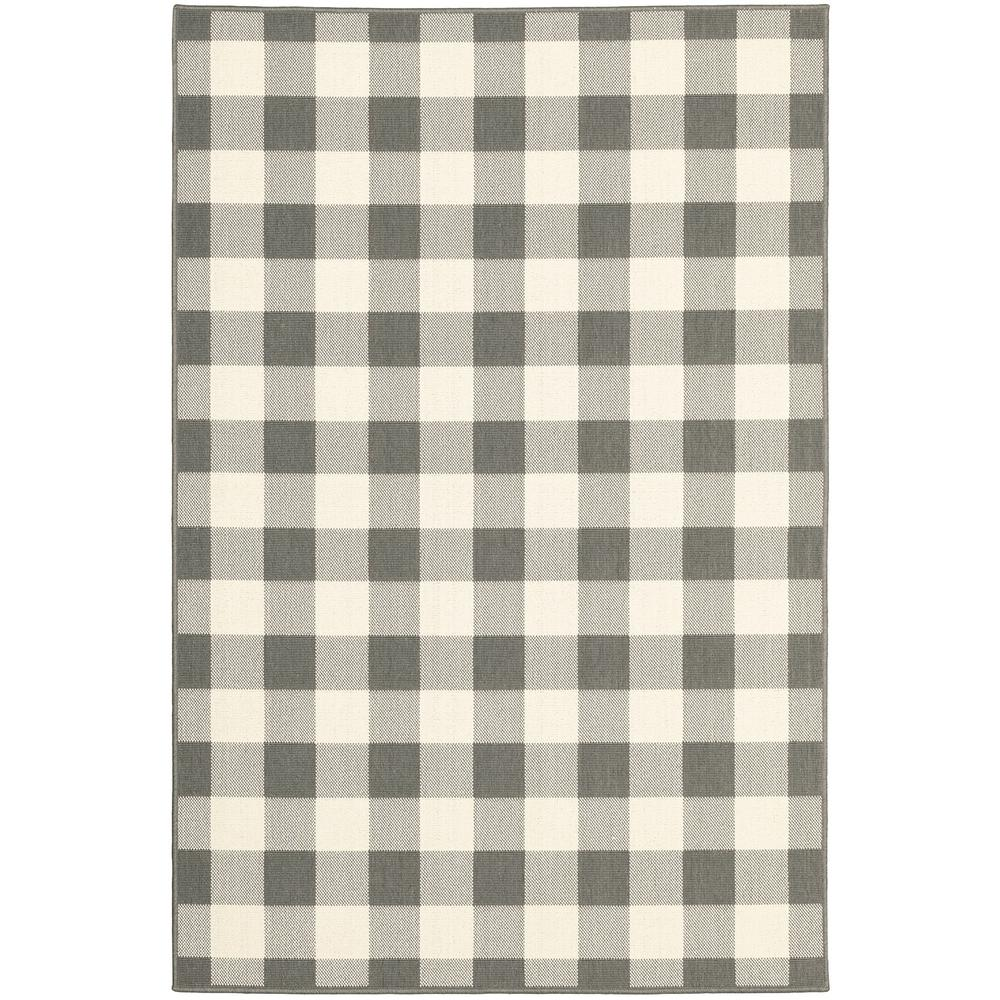 7'x10' Gray and Ivory Gingham Indoor Outdoor Area Rug - 389527. Picture 1