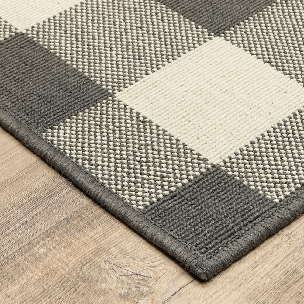 9'x13' Gray and Ivory Gingham Indoor Outdoor Area Rug - 389530. Picture 2