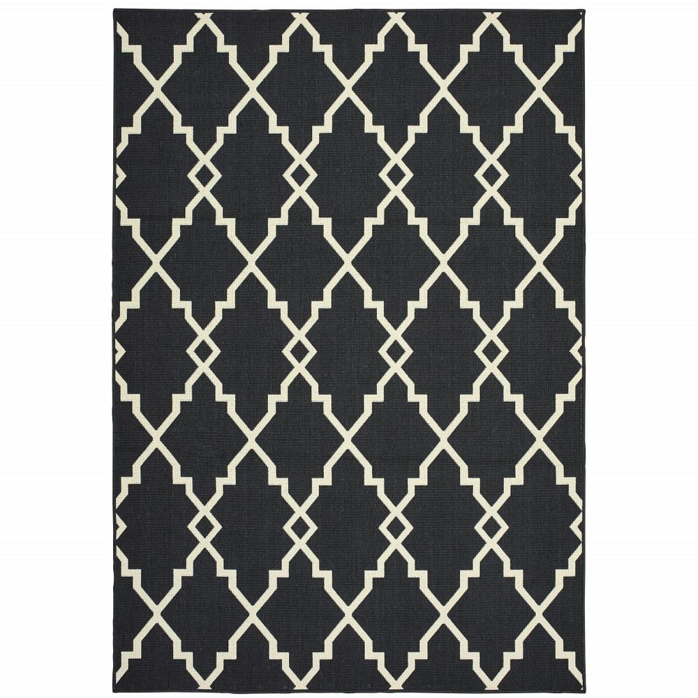 8'x11' Black and Ivory Trellis Indoor Outdoor Area Rug - 389535. Picture 1