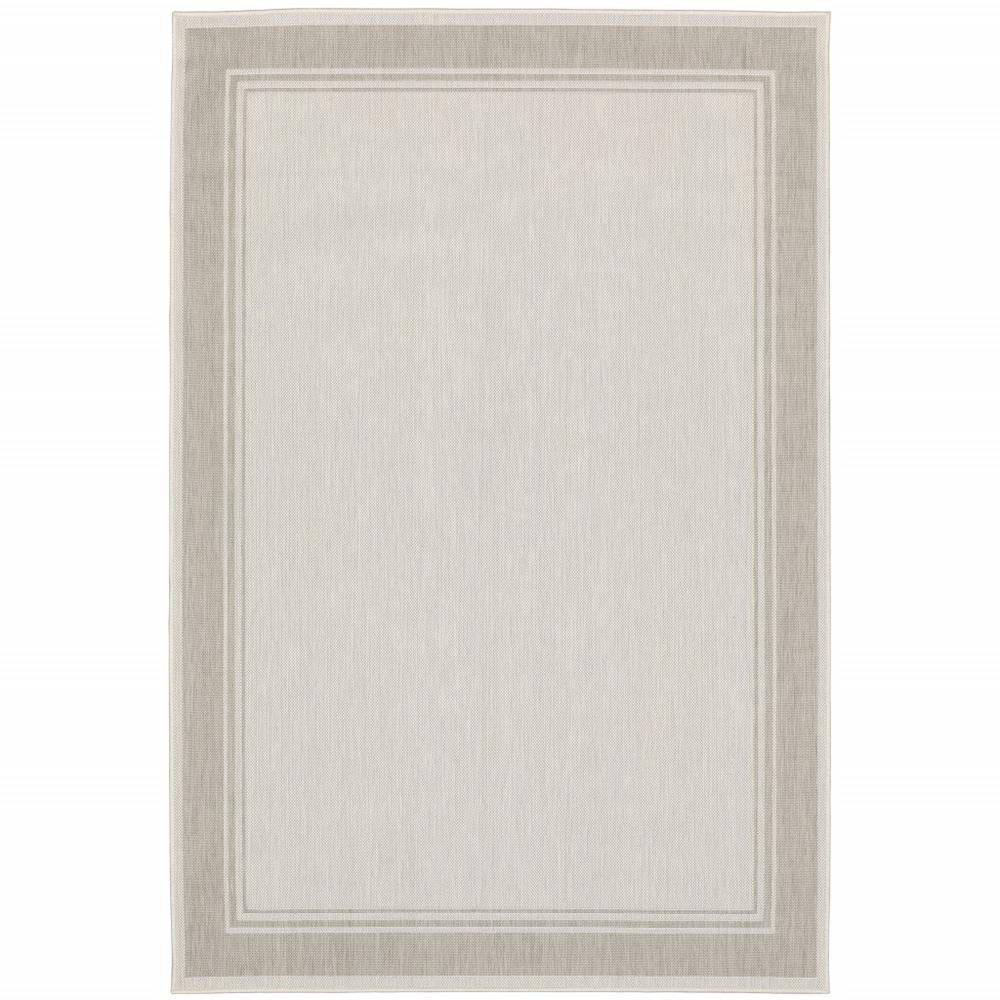 3'x5' Ivory and Gray Bordered Indoor Outdoor Area Rug - 389543. Picture 1