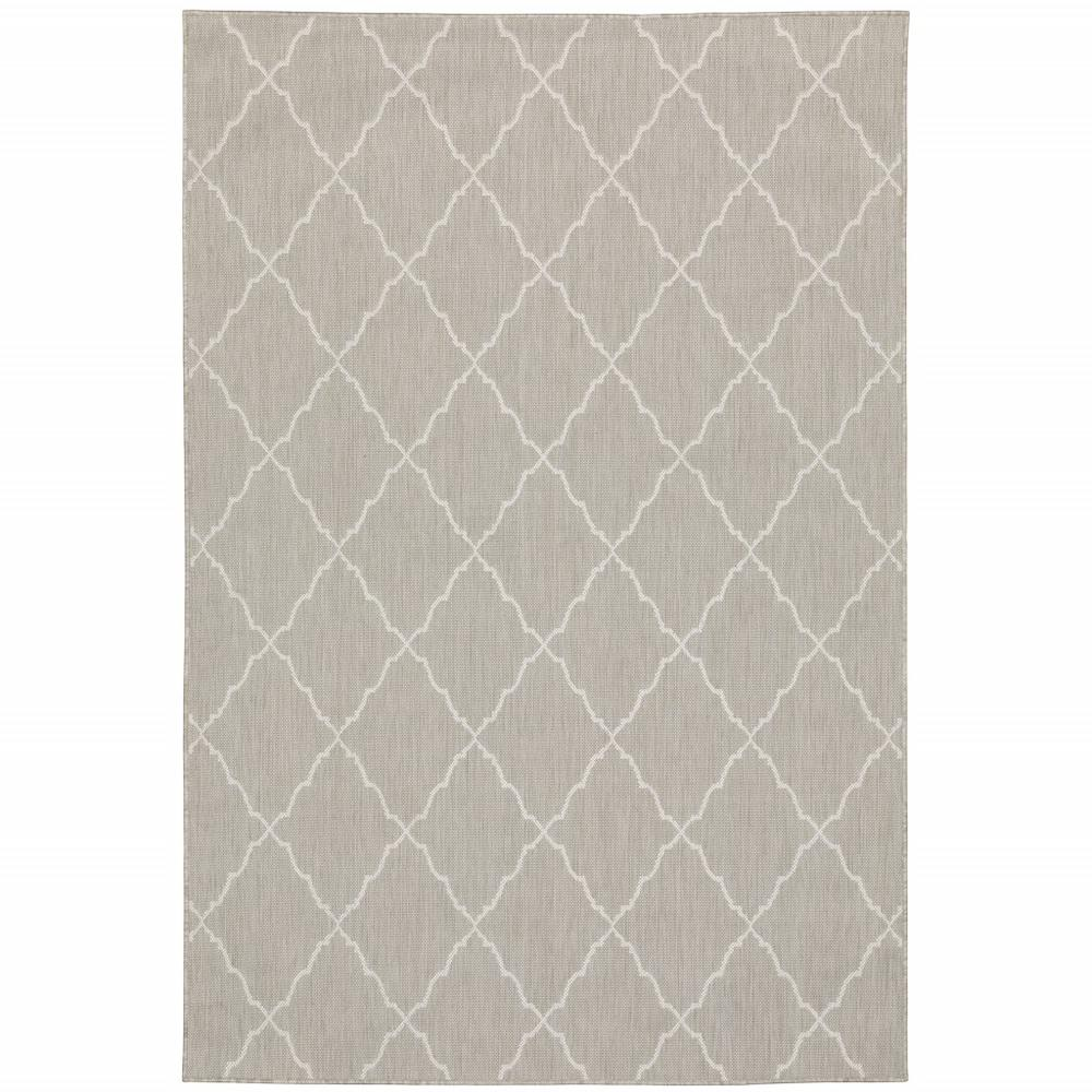8'x10' Gray and Ivory Trellis Indoor Outdoor Area Rug - 389551. Picture 1