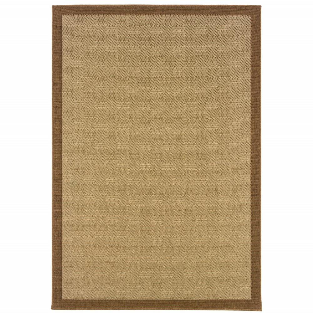 2'x4' Beige and Brown Plain Indoor Outdoor Scatter Rug - 389617. Picture 1