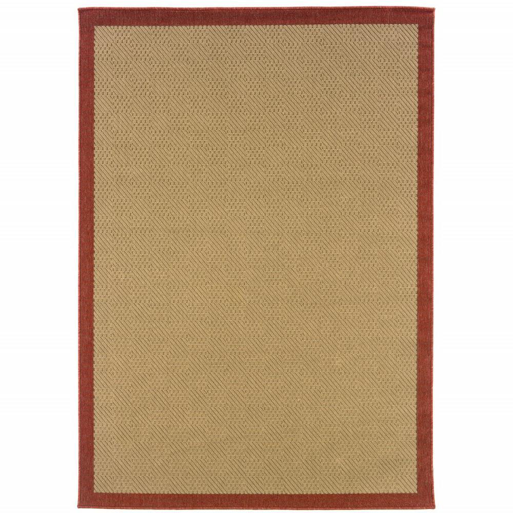 2'x4' Beige and Red Plain Indoor Outdoor Scatter Rug - 389618. Picture 1