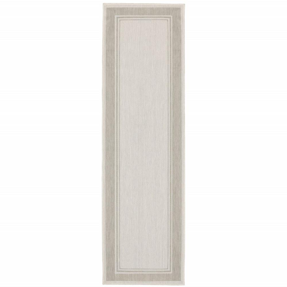2'x7' Ivory and Gray Bordered Indoor Outdoor Runner Rug - 389628. Picture 1
