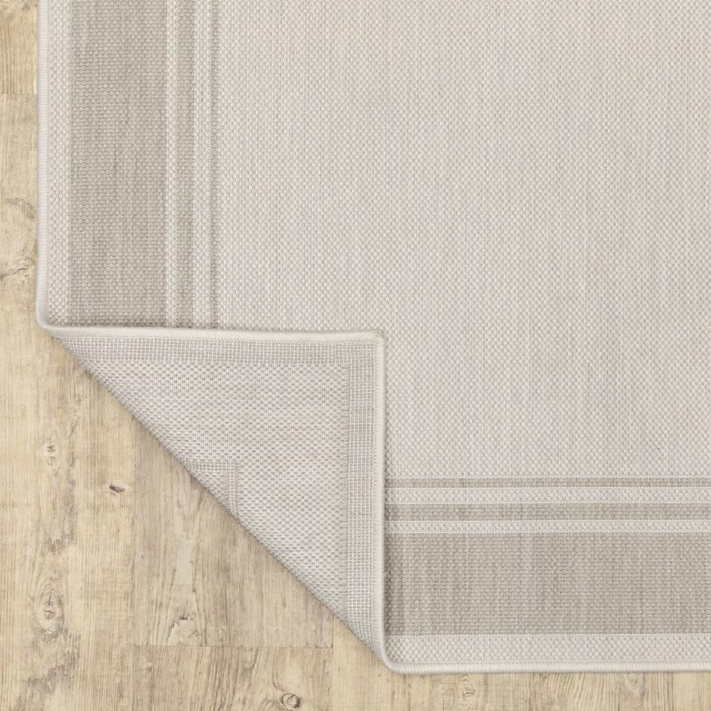 2'x7' Ivory and Gray Bordered Indoor Outdoor Runner Rug - 389628. Picture 3