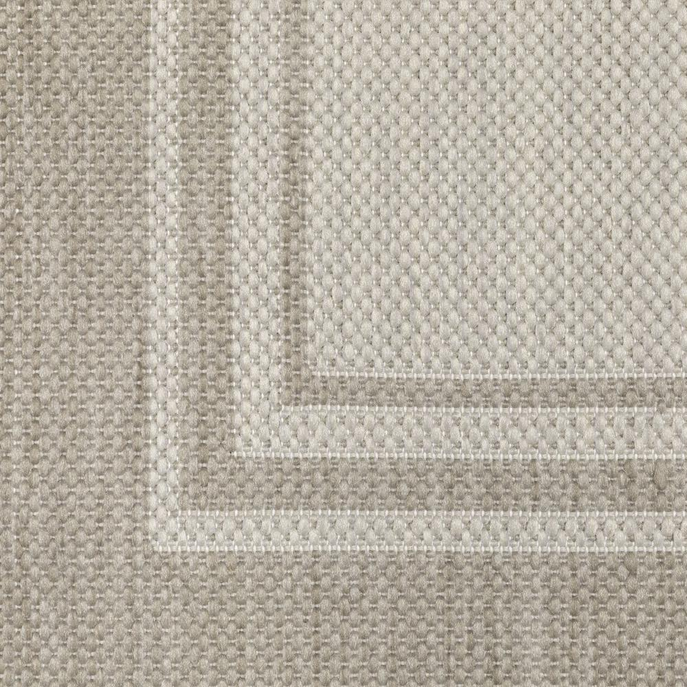 2'x7' Ivory and Gray Bordered Indoor Outdoor Runner Rug - 389628. Picture 6