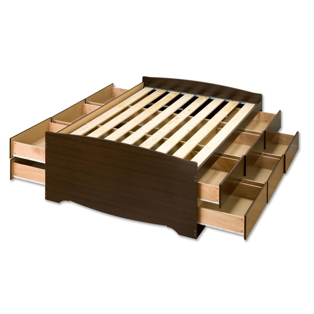 Espresso Tall Queen Captain's Platform Storage Bed with 12 ...