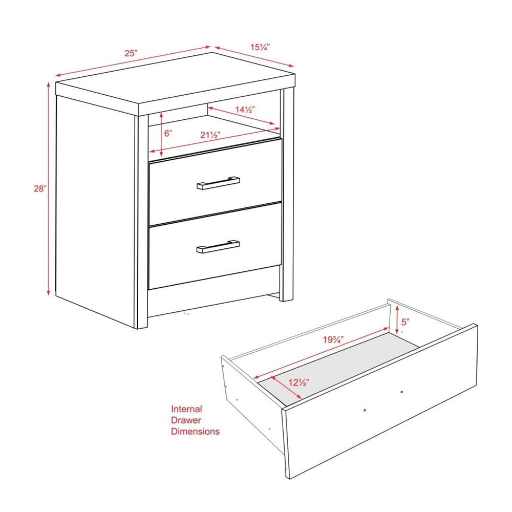 District Tall 2 Drawer Nightstand