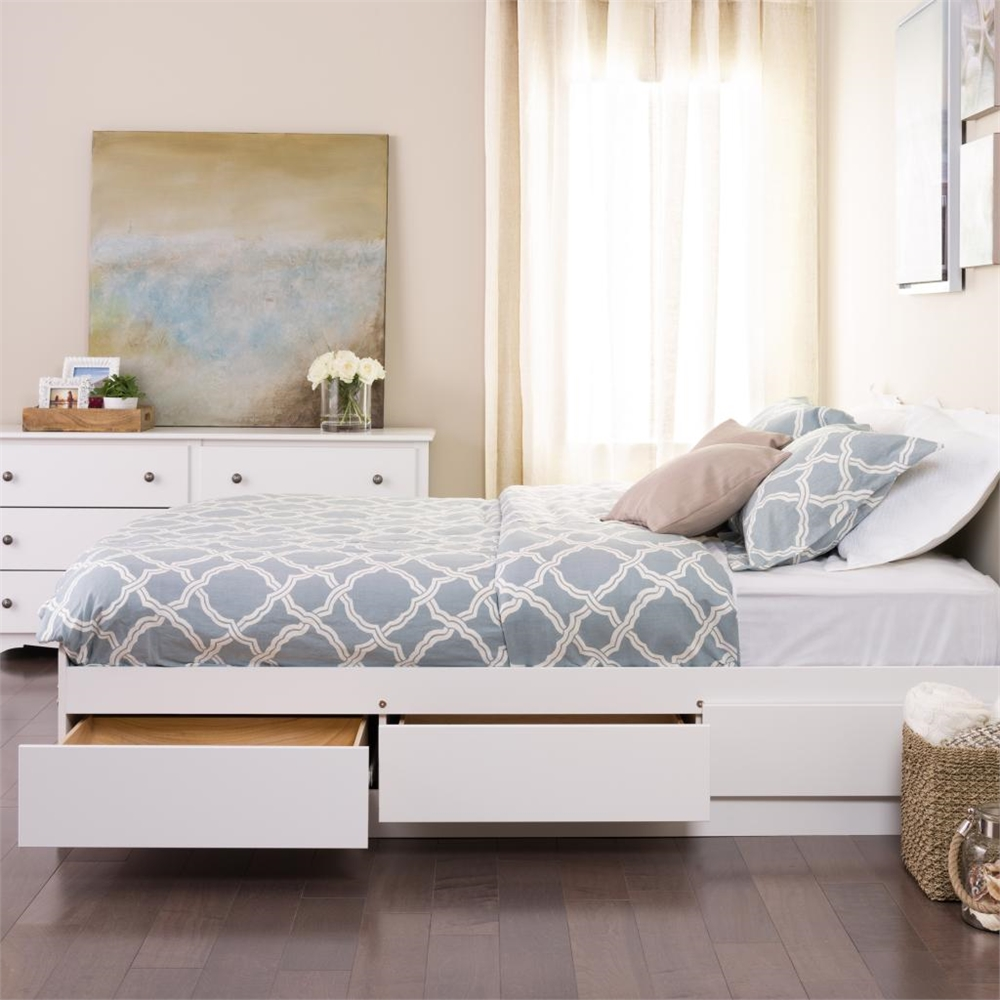 White Queen Mate S Platform Storage Bed With 6 Drawers