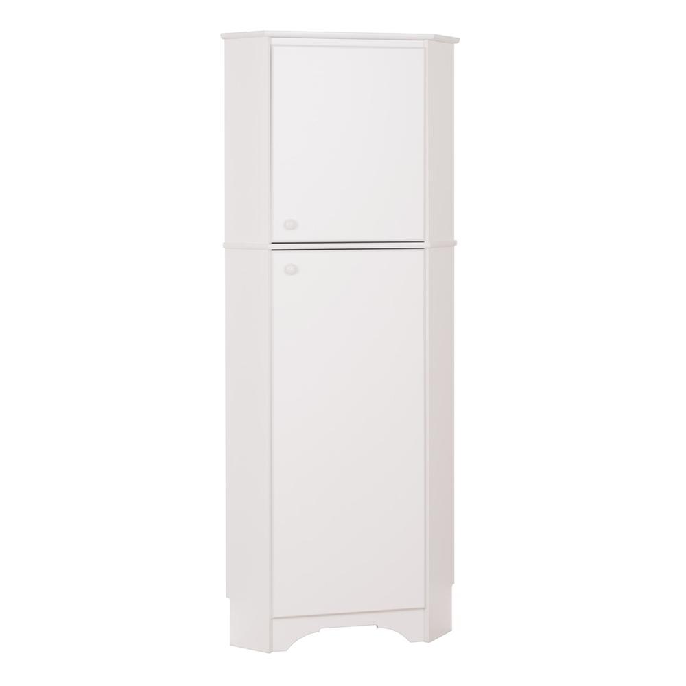 Elite Tall 2 Door Corner Storage Cabinet White