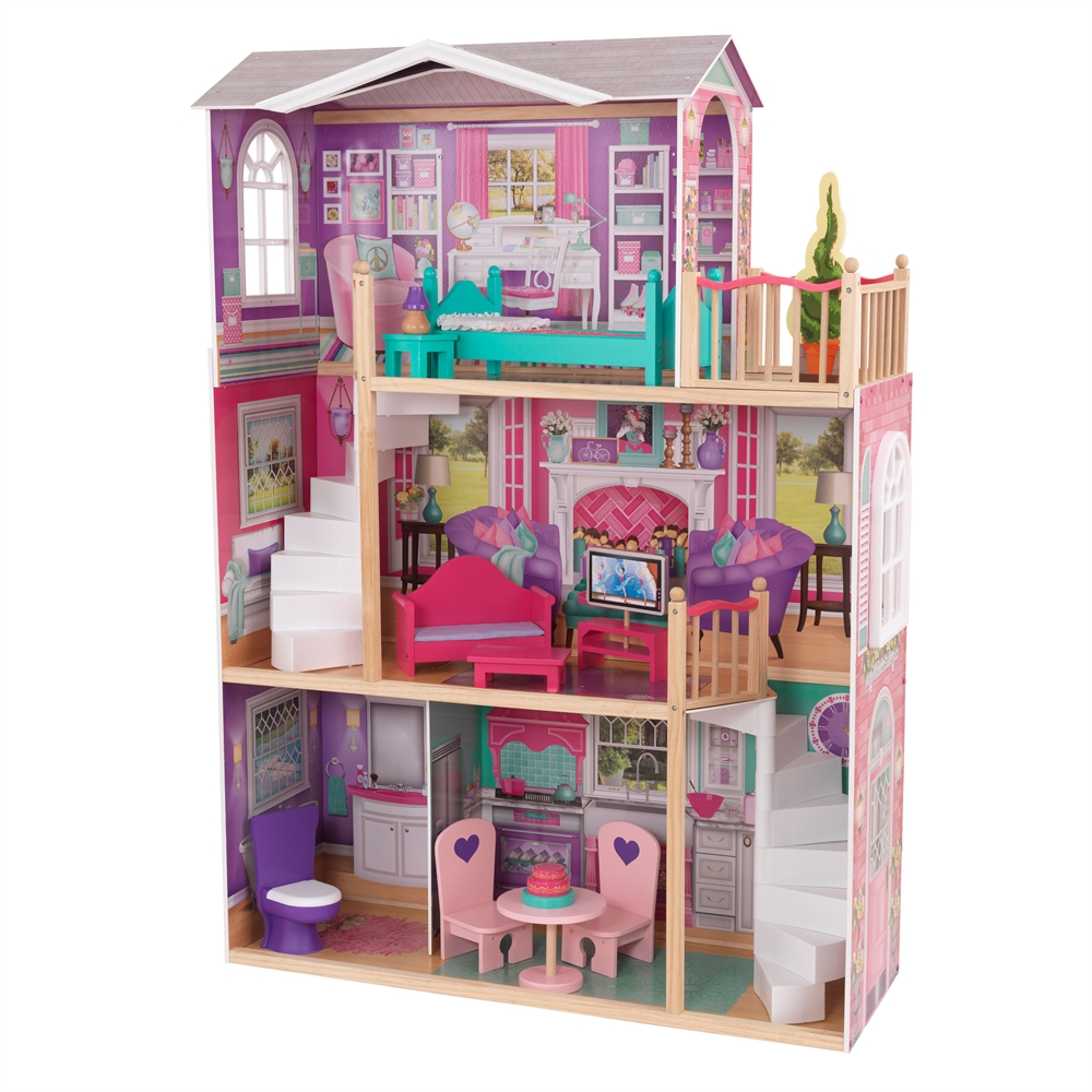 """Elegant 18"""" Doll Manor With Furniture"""