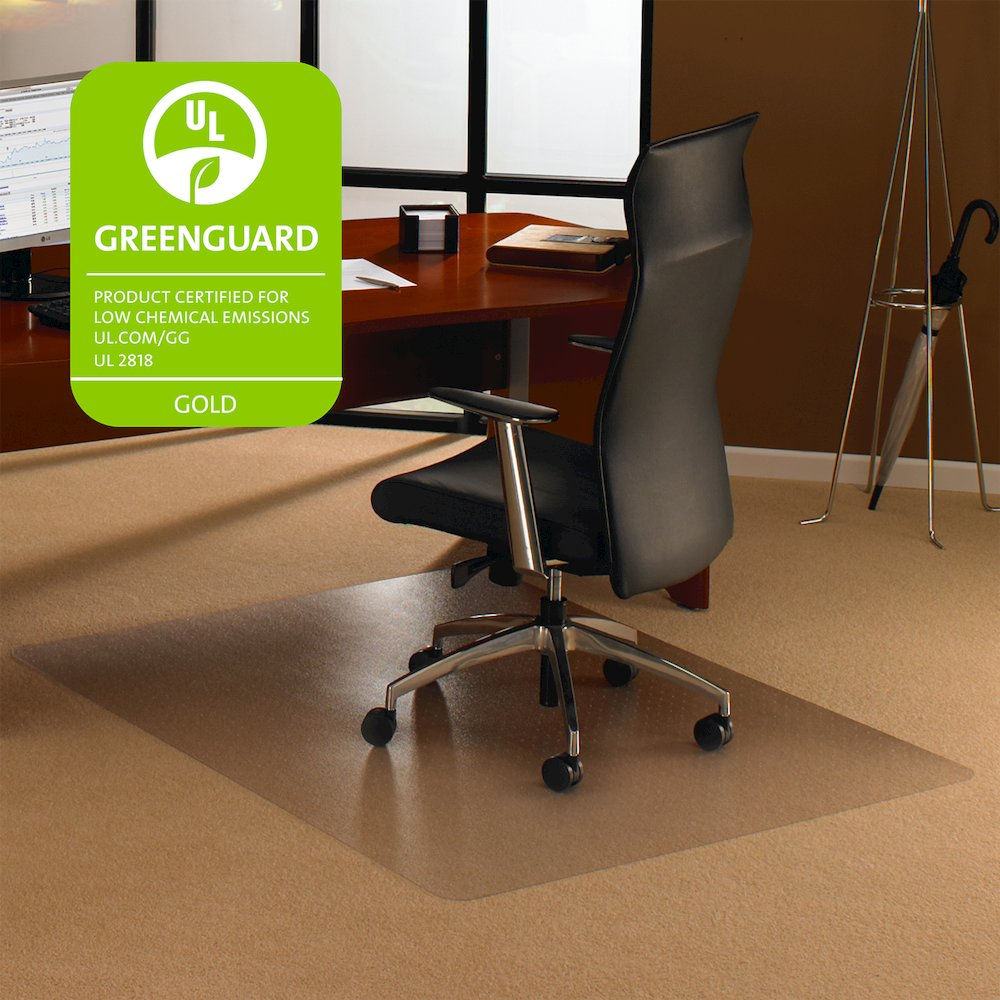 "Cleartex Ultimat Square Chair Mat, Polycarbonate, For Low & Medium Pile Carpets (up to 1/2""), Size 48"" x 48"". Picture 3"
