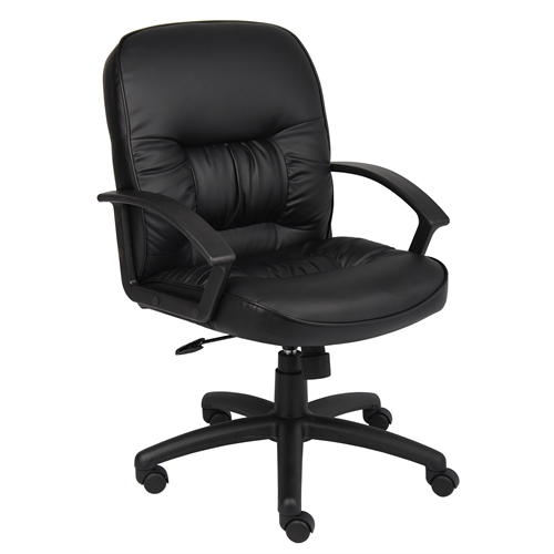 Boss Mid Back LeatherPlus Chair W/ Knee Tilt. Picture 1