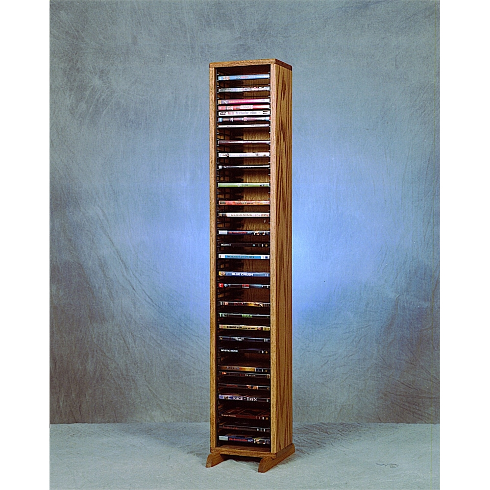Solid Oak Tower for DVD's (Individual Locking Slots). Picture 1