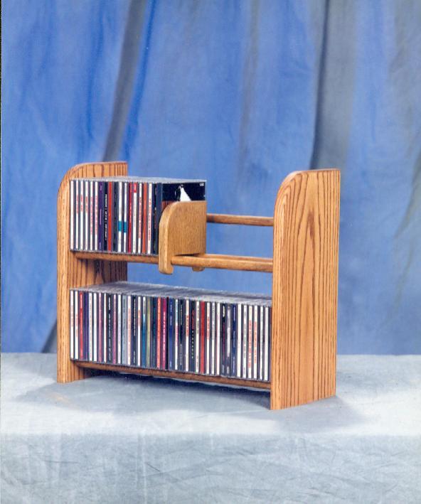 Solid Oak 2 Row Dowel CD Rack. Picture 2