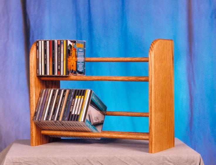 Solid Oak 2 Row Dowel CD Rack. Picture 1