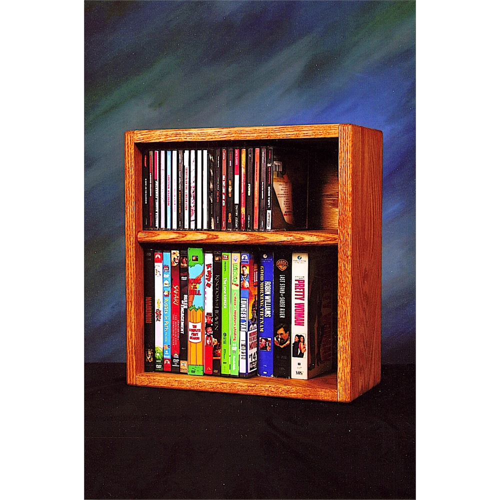 Solid Oak desktop or shelf for CD's and DVD's/ VHS Tapes. Picture 1