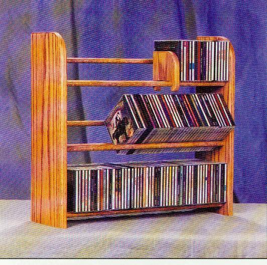 Solid Oak 3 Row Dowel CD Rack. Picture 1