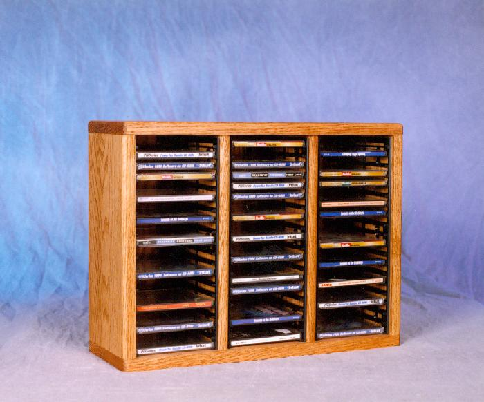 Solid Oak Tower for CD's (Individual Locking Slots). Picture 1
