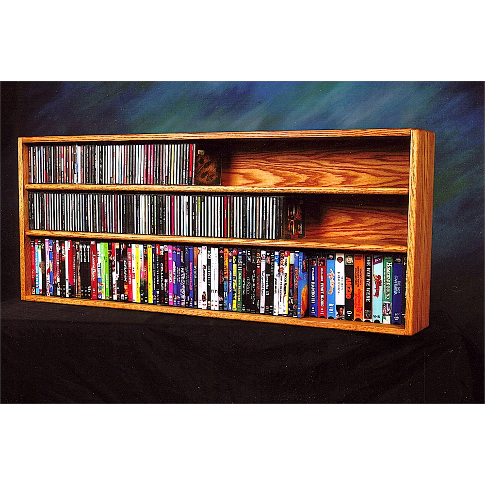 Solid Oak Wall or Shelf Mount for CD and DVD/VHS tape/Book Cabinet. Picture 1