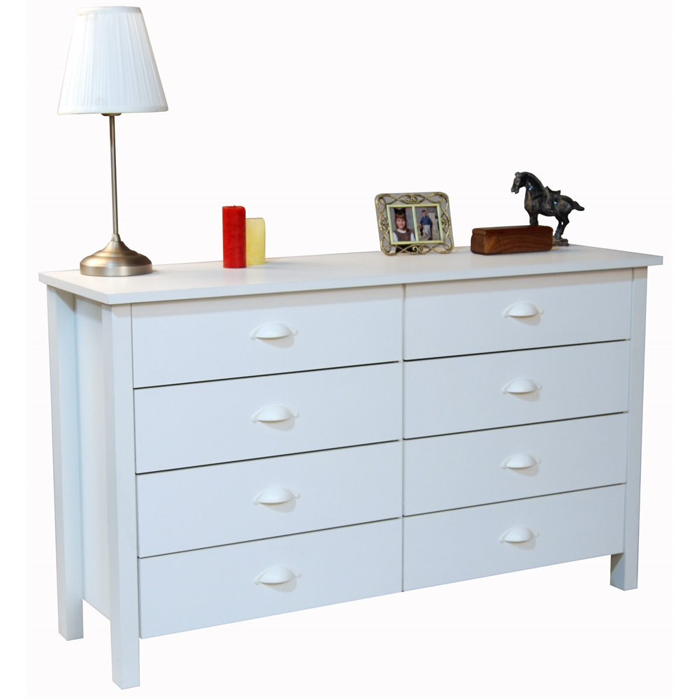 8 drawer nouvelle lowboy chest 52 x 16 x 31 white for Bedroom 5 drawer chest